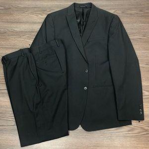 Andrew Fezza Black w/ White Pinstripe Suit 46L